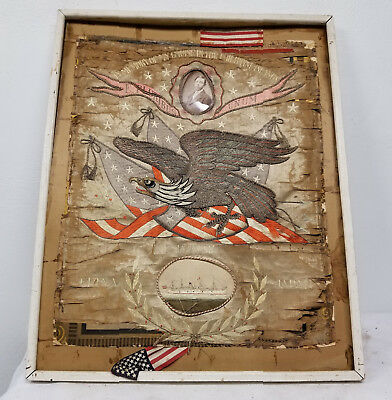 Antique Chinese Embroidered Silk Philippine War Panel Americana Eagle CHina