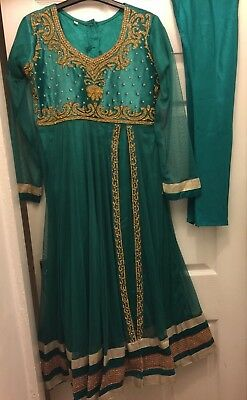 Salwar Kameez Anarkali Lengha Asian Dress Turquoise Gold Size Small/38