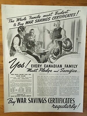 1941 Canadian Ad Wwii Canada Buy Victory War Bonds All Canadian Families Buying
