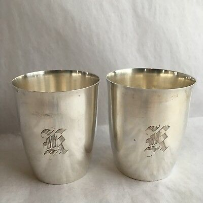 Vintage Sterling Silver Drinking Cups Leather Case A5675 Lion Anchor Monogram K