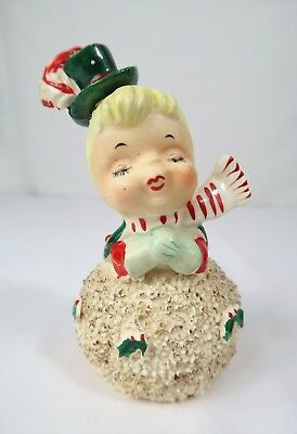 Vintage Geo Z. Lefton Kissing Snowman Bell Figurine Girl Only