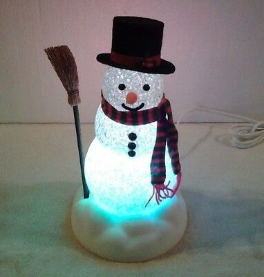 """Vintage Avon color change """"CHILLY SAM LIGHT-UP SNOWMAN"""" retired - NEW IN BOX"""