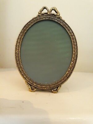 Antique/Vintage Brass Oval Ornate Bow Topped Easel Footed Picture Frame Italy