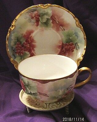 Haviland Limoges Hand Painted Floral Cup and Saucer