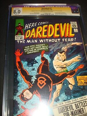 DAREDEVIL #7 CGC 8.0OWW SS Signed by Stan Lee!  Wally Wood 1965 Classic cover.