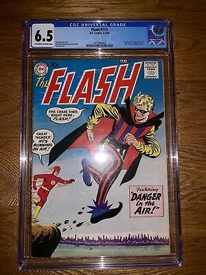 """THE FLASH 113 1960 CGC 6.5 ORIGIN & 1ST APPEARANCE TRICKSTER """"Danger In The Air"""""""