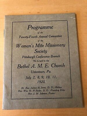 1920 Woman's Mite Missionary Society Pittsburgh Conf Bethel Ame Uniontown Pa