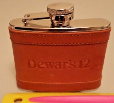 Dewar's 12 Stainless Steel Leather Covered 4 oz. Flask