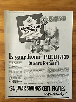 1941 Canadian Ad Wwii Canada Buy Victory Bonds  Certificates Patriotic