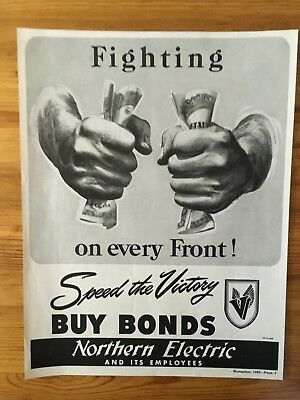 1943 Canadian Ad Wwii Canada Buy Victory Bonds  Fighting All Fronts  Patriotic