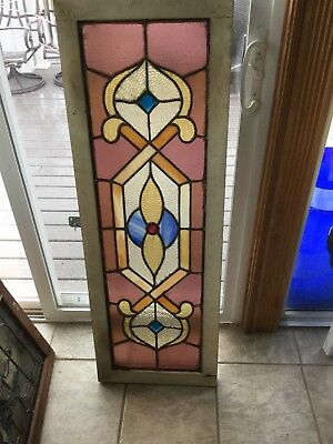 Antique Stain Glass Window Transom Multi. Color With Jewels