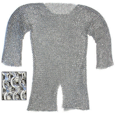 Theater Re-enactment Aluminum Hauberk Medieval Costume Chainmail Ex-Large
