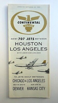 Continental Airlines The GOLDEN JET Boeing 707 Timetable September 25, 1960