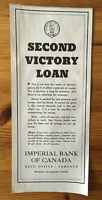 1942 Wwii Canada War Canadian Ad  Buy Victory Bonds Second Victory Campaign Loan