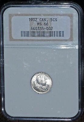 1902 5 cents CANADA NGC MS-66 fll luster