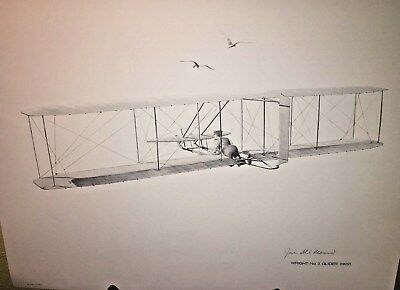 """S.J. DeMarco Signed drawing Wright No.3 Glider 1902   14 """" x 11 """" Unframed"""