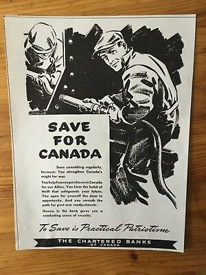 1942 Wwii Canada War Canadian Ad  Wartime Ration Rationing Banks Save