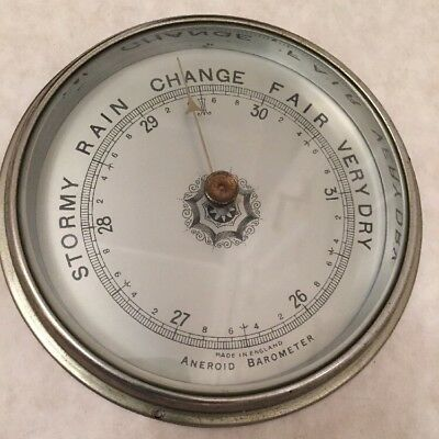 Aneroid Barometer Beveled Glass Brass Bezel Metal Dial Spare Parts Repair (A)