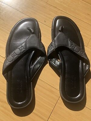 e207fb697 GUCCI mens 12G black GUCCISSIMA Leather BEACH flip-flops Thong sandals NIB  Auth