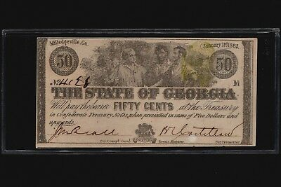 1863 CSA 50 Cents Confederate Fractional Note ~ The State Of Georgia ~ CR. #14