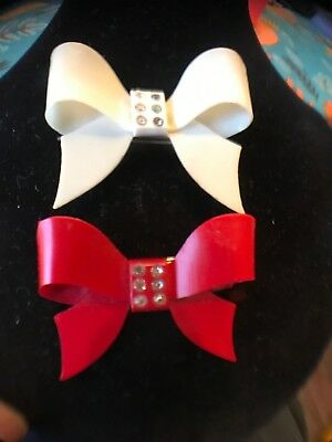 2 Vintage PLASTIC BOW Hair Clip BARRETTES With Metal Back