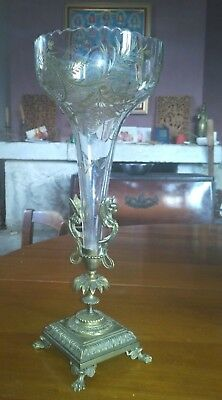 Antique French bronze centerpiece crystal golden engraved Compote empire 19th