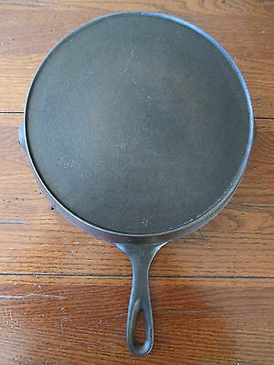 Unmarked Cast Iron #8 Skillet Pan Outer Heat Ring Cleaned Seasoned Wagner