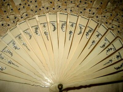 Antique French HAND FAN etched / carved sticks guards silk lace sequins tassel