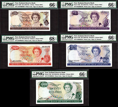 New Zealand 1985-89 MATCHING LOW Serial 000240 $1 to $20 GEM UNC PMG 66 & 68 EPQ