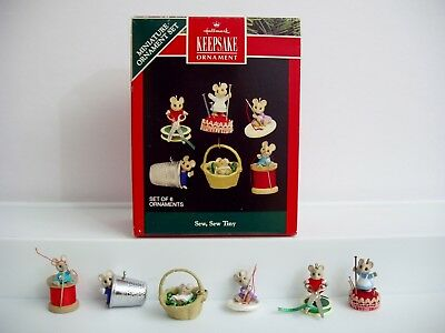 Vtg 1992 Hallmark Sew Tiny Miniature Mice Ornament Set Keepsake Christmas Sewing