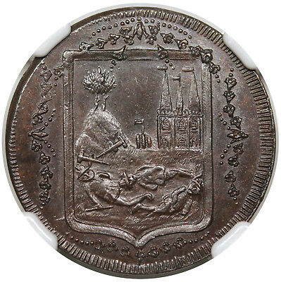 (1790s) Great Britain Farthing Conder Token, Staffordshire DH-27, NGC MS64BN