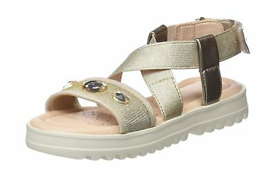 Geox Girls' J Sandal Coralie F Open Toe Gold (Gold C2005) 10 UK Child