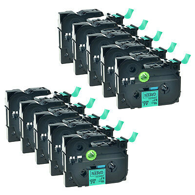 10Pack Black on Green TZ-741 Tze-741 Label Tape For Brother P-touch PT-1500 E300