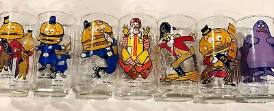 1970s Lot of McDonald's Collector Glasses - Big Mac, Mayor McCheese, Captain Cro