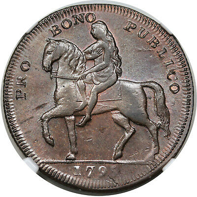1795 Great Britain Halfpenny Conder Token, Lady Godiva, DH-252, NGC MS63BN