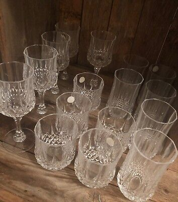 Cristal D'arques Longchamp Stemware Wine Rocks Glasses Lot 16 Cut Crystal Vtg.