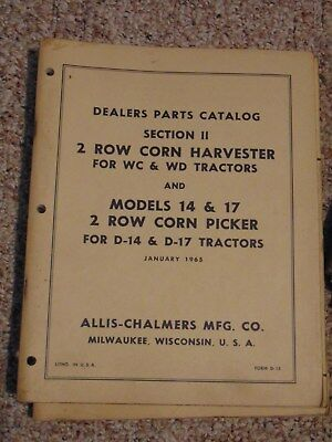 Allis Chalmers Dealers Parts Catalog 2 Row Corn Harvester And Corn Picker 1965