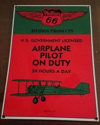 Vintage Metal Sign Phillips 66 Airplane Pilot On Duty