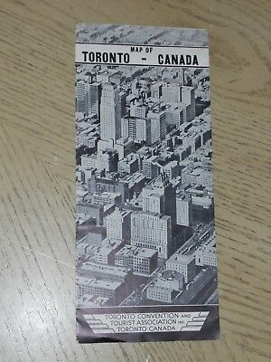 OFFICIAL 1934 Toronto Canada City Street Tourist Map + Points of Interest ONT CA