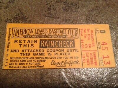 RARE 1951 New York Yankees MICKEY MANTLE 1ST ROAD GAME!!! Ticket 1st K 1st Trpl