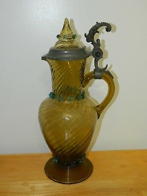 Antique Vintage Large Blown Art Glass Water Wine Pitcher w/ Pewter Lid Lidded