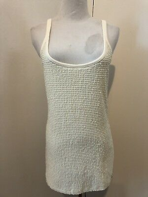 NEW $89 armani exchange sequin cotton tank top shirt blouse Sz large cream