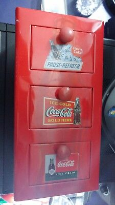 Coca Cola  Small Metal  Box With 3 Drawers, Collectible Item.