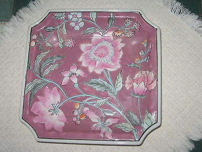 """Decorative Asian Style 8"""" Square Floral Porcelain Dish Mauve Pink Green JCPenney"""