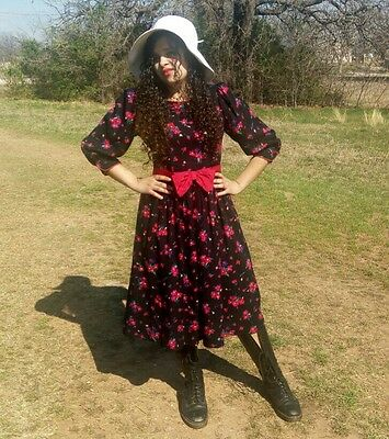 Womens Vintage Black Red Dress Floral Sz 8 Bow Belted Long Dress 80s 90s