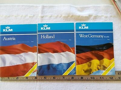 KLM Royal Dutch Airlines 1989 Handy Facts W. Germany, Austria, Holland Pamphlets
