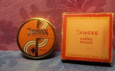 vtg TANGEE Art Deco Makeup SET Rouge compact / SAMPLE Advertising powder TIN