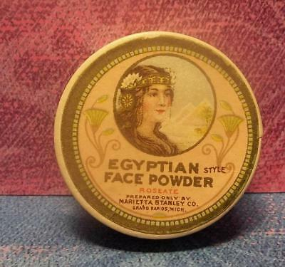 vtg 1914 EGYPTIAN LADY mini Makeup Face POWDER BOX compact MARIETTE STANLEY Co.