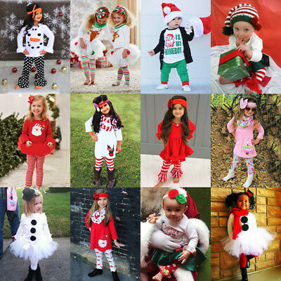 UK Newborn Kid Baby Girls Boys Christmas Santa Tops Dress Long Pants Outfit Set