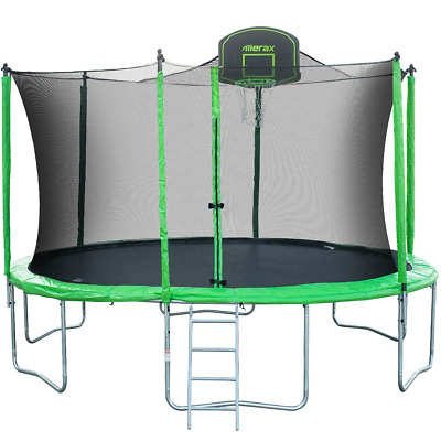 14FT Round Trampoline w/72PCS Springs & Basketball Hoop Enclosure Net Pad&Ladder